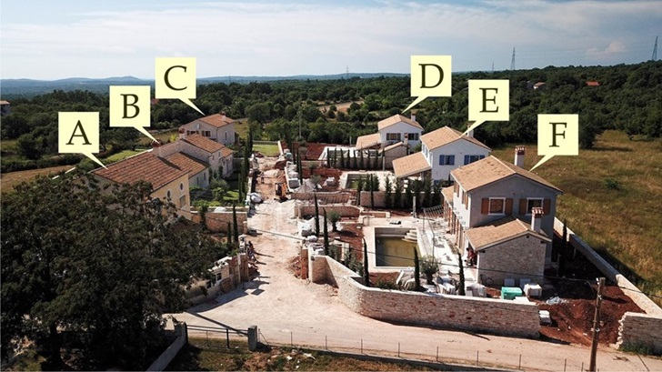 Project under construction - a closed settlement with six traditional houses near Svetvincenat
